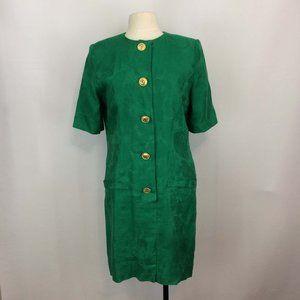 Albert Nipon 80s Green Linen Jacquard Sheath Dress